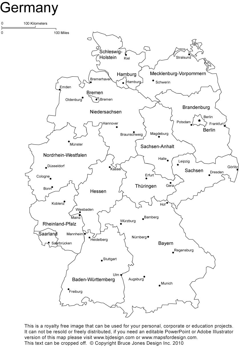 Germany Printable Blank Map Bonn Berlin Europe Royalty Free - Map 9f germany