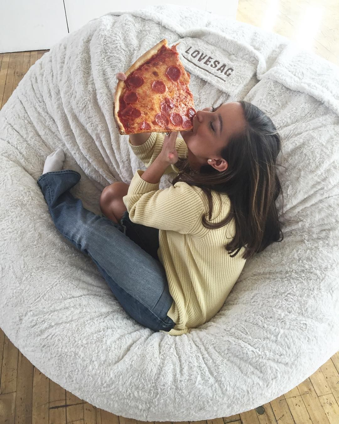 Even The Models Need To Eat At Some Point. #photoshoot #manhattan #lovesac. Bean  Bag CouchBean Bag ChairsBean ...