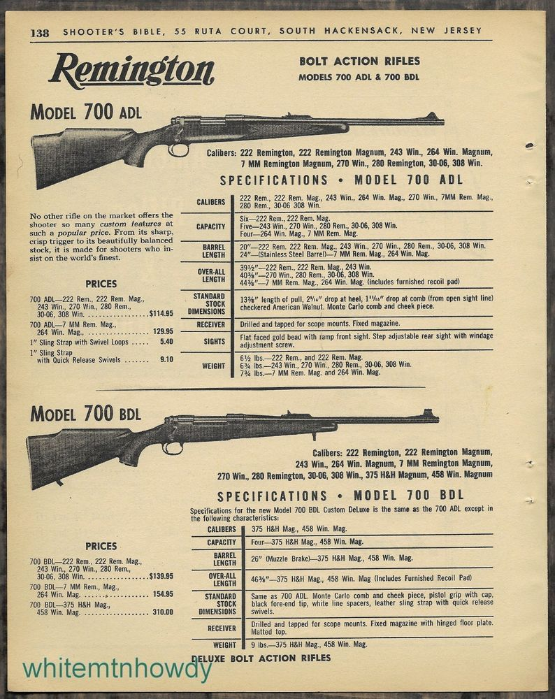 1963 REMINGTON 700 ADL and BDL Bolt Action Rifle AD w