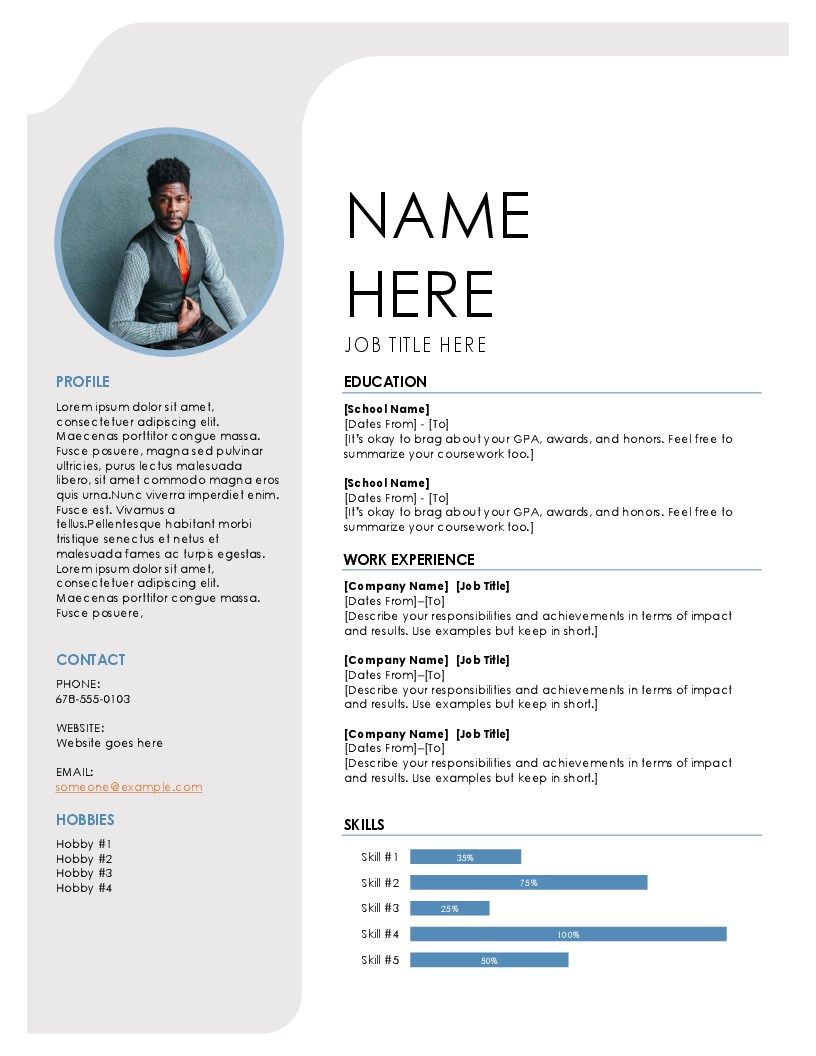 template cv with grey blue theme to make your curriculum