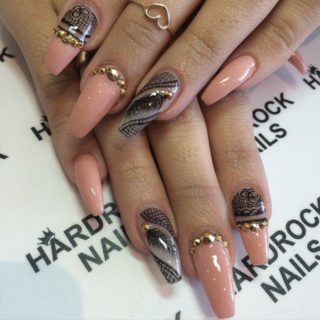 Peach Coffin/ballet Nails With Stones And Feather Nail Art