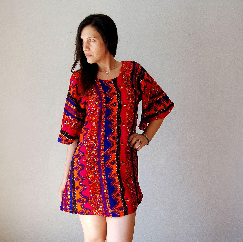 Vintage batik dress s flared sleeves mini dress batik dress