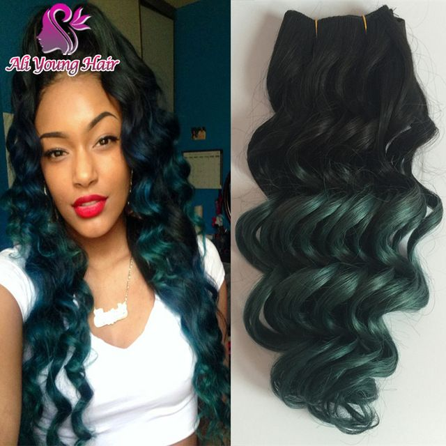 7a Loose Deep Wave Brazilian Ombre Hair Extensions T1bdark Green