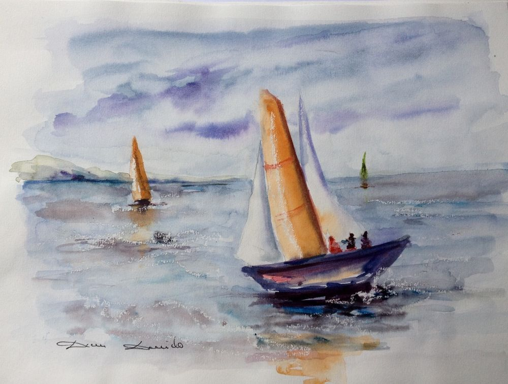 Aquarelle Originale Damdomido Provence Marine Original Watercolor