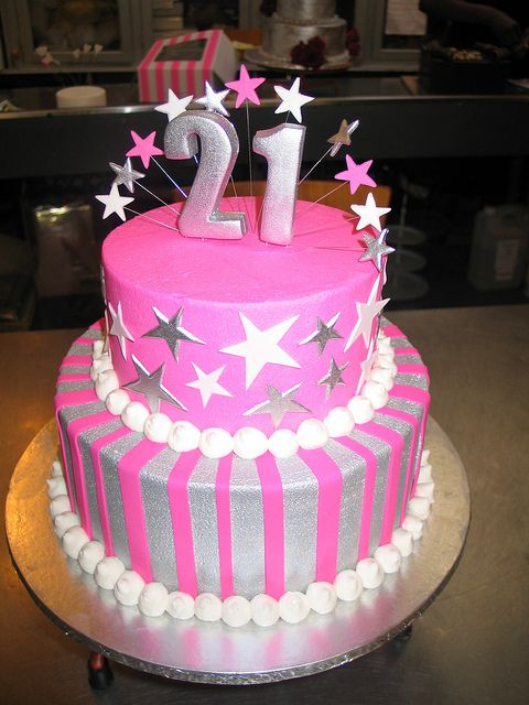 Silver Pink 2 Tier Birthday Cake