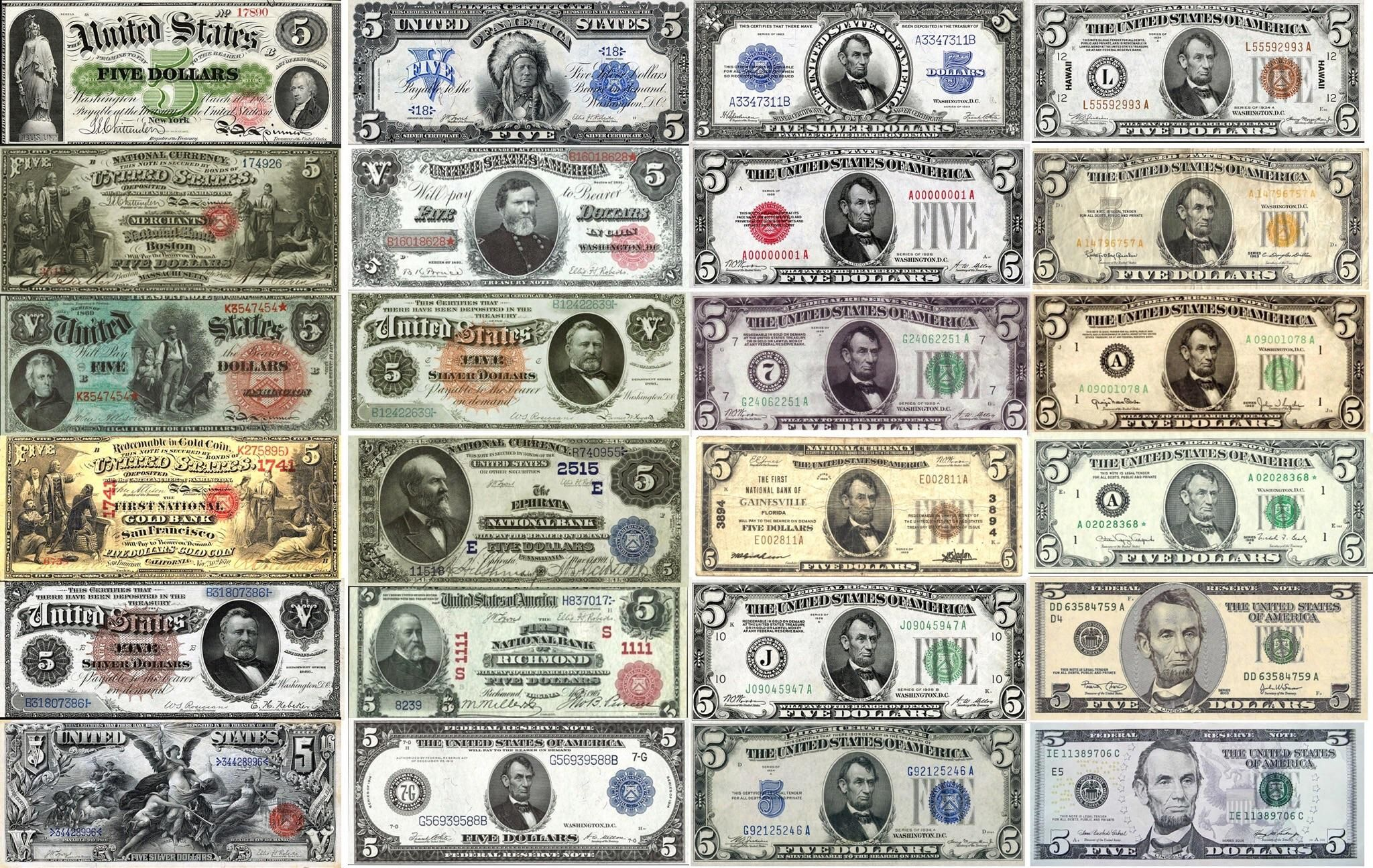 All The Versions Of The U S 5 Bill From To Present