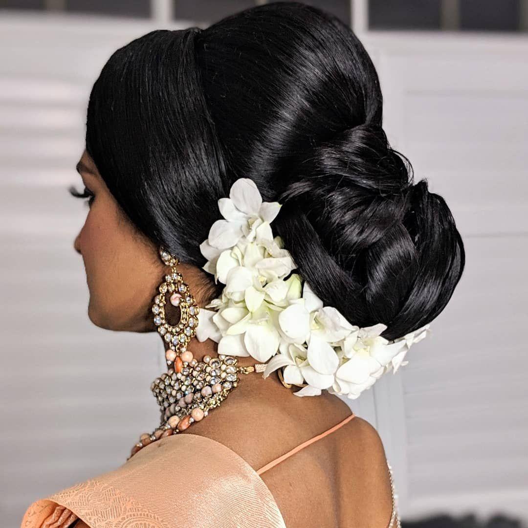The Classic And Timeless Orchid Bun Muah Akmakeup1 Tamilwedding Tamilbride Makeup Wedding Akmakeup Toront Hair Styles Bridal Wedding Hair Hair Styels
