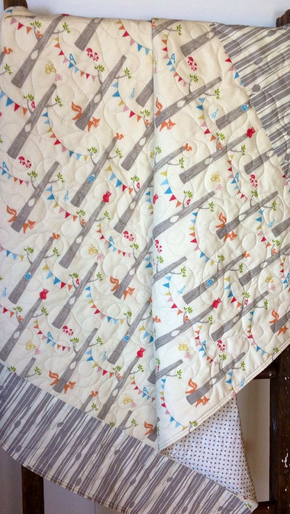 Organic Baby Quilt Gender Neutral Woodland Party Birch
