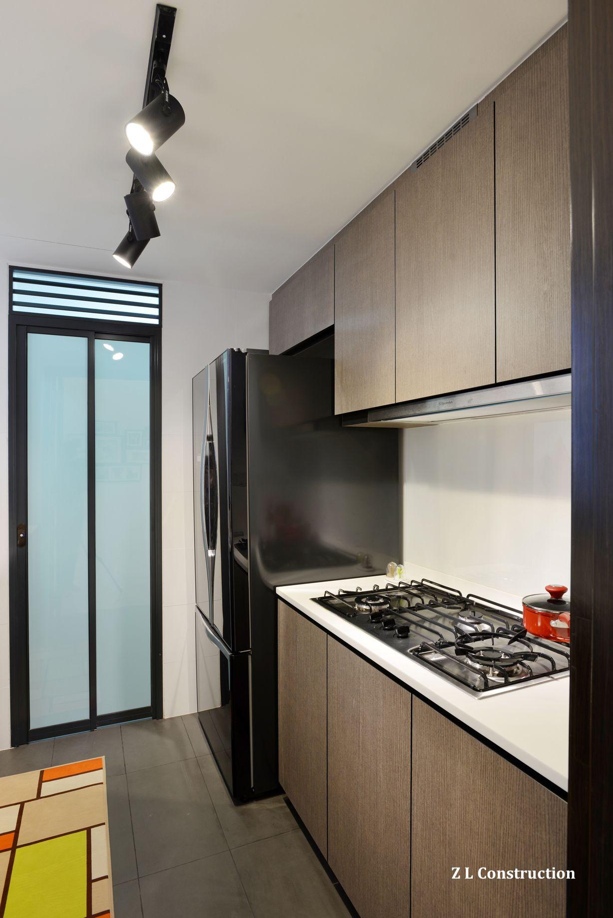 Z L Construction Singapore A Handsome Kitchen With Dark Wood Laminates Kitchen Design Countertops Kitchen Cabinets Design Layout Laminate Kitchen