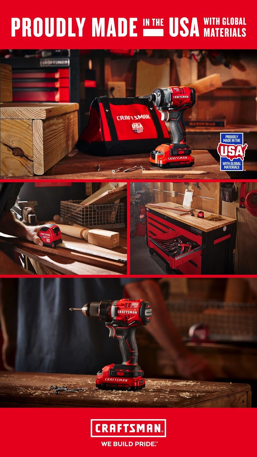 Made In America With Global Materials Craftsman S Bringing Job Opportunities And Pride In Craftsmanship Back T Craftsman Tools Sears Home Improvement Craftsman