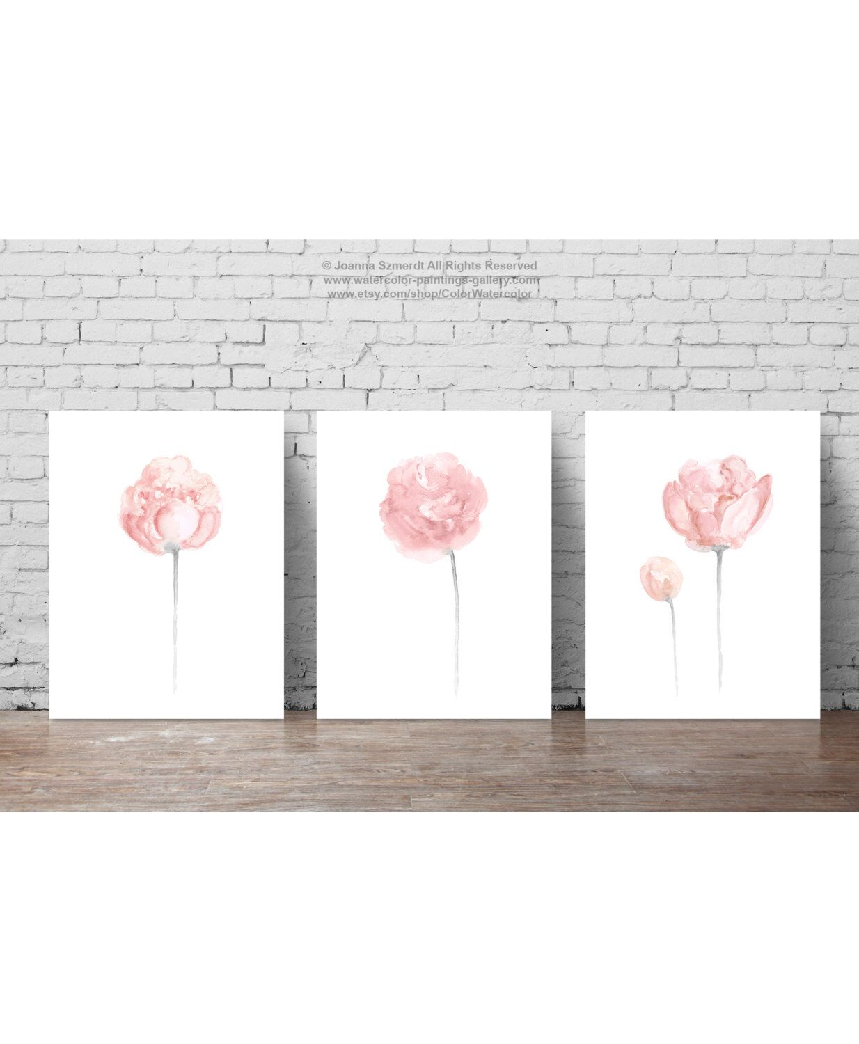 Shabby chic wall decor nursery - Shabby Chic Painting Baby Pink Nursery Wall Decor Gray Coral Living Room Decoration Floral Bedroom Watercolor