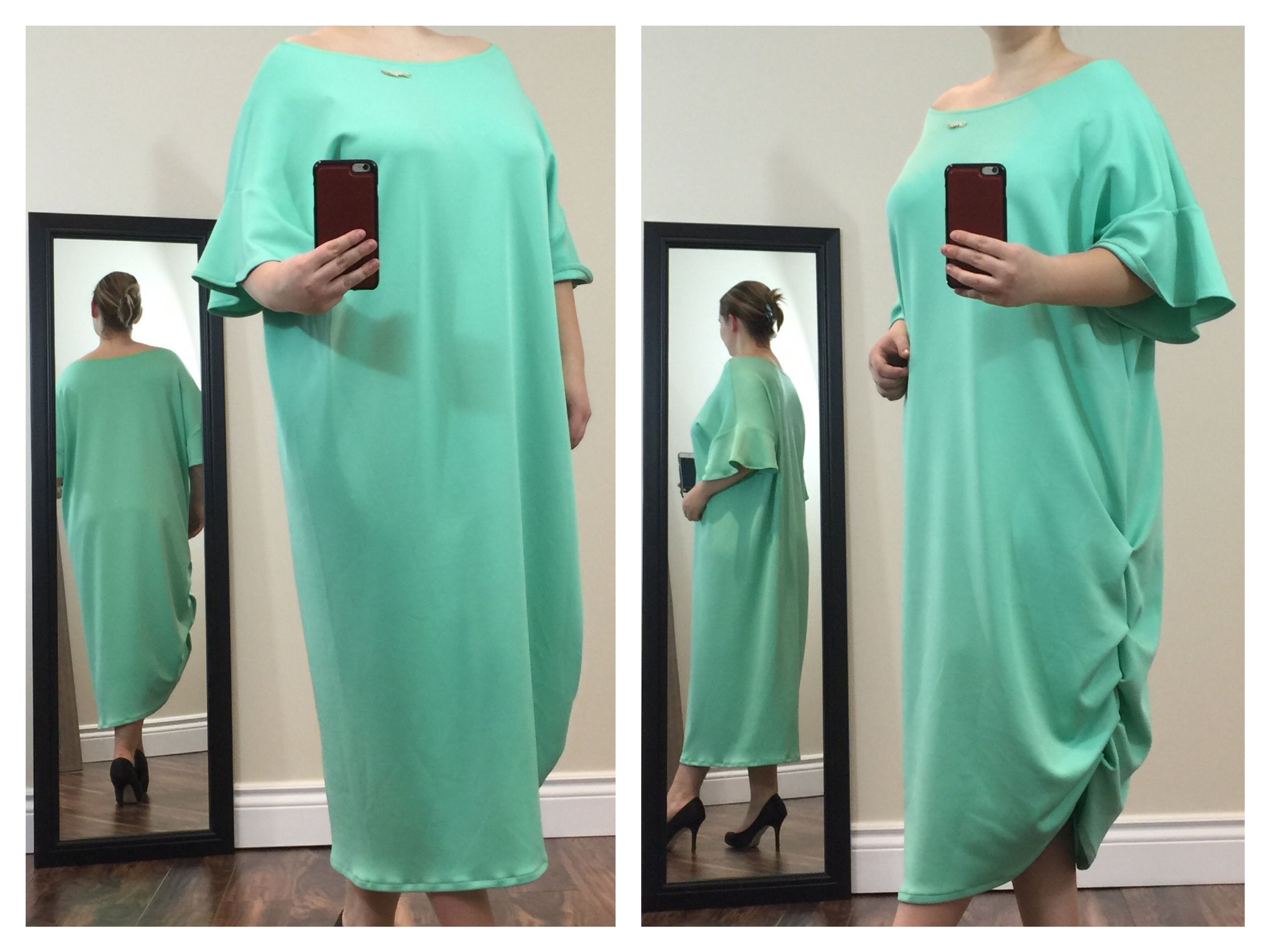 Gorgeous sea green asymmetrical dress with crew neck & loose ruffled sleeves. It's formless, bright & comfortable.  Buy now at https://www.etsy.com/ca/shop/ClassyGiselleLauren?ref=hdr_shop_menu