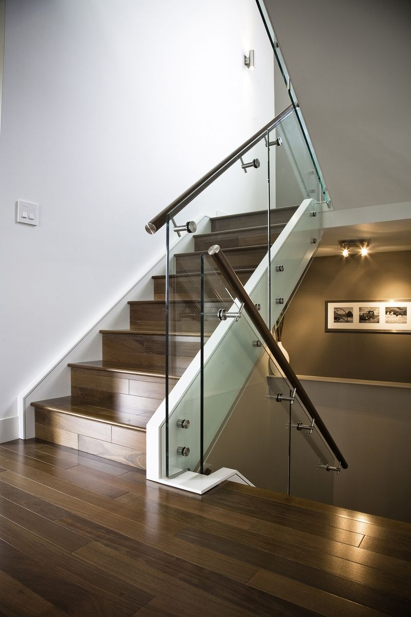 Hand Made Maple Stair with Glass Railing and Stainless Steel Handrail and  Stand Offs by Prestige