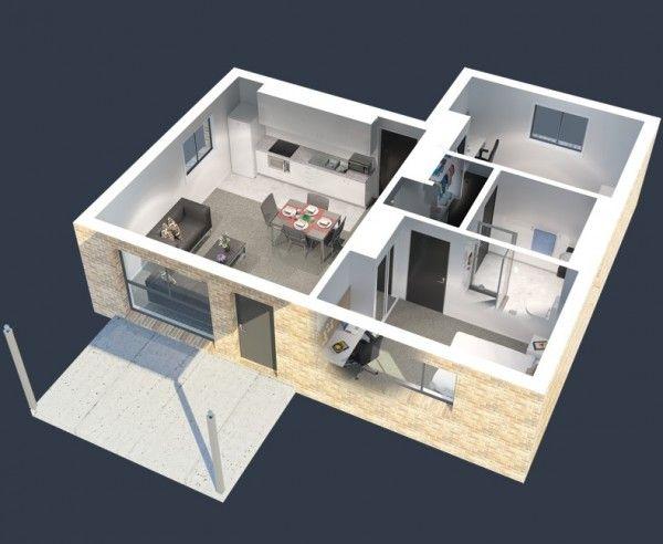 Plan maison 3D d\u0027appartement 2 pièces en 60 exemples Conception - logiciel plan de maison