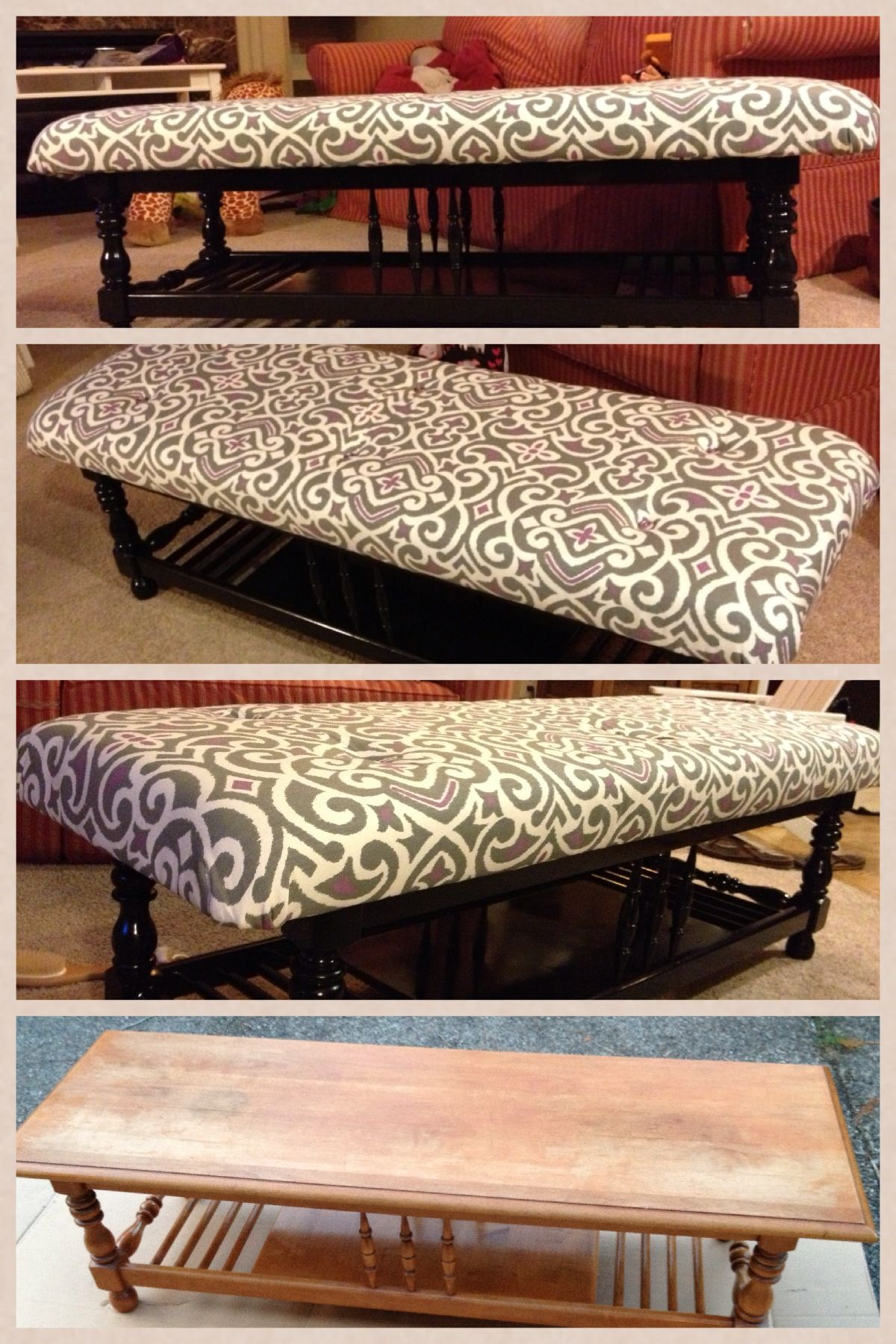 Coffee table turned padded bench for the foot of the bed