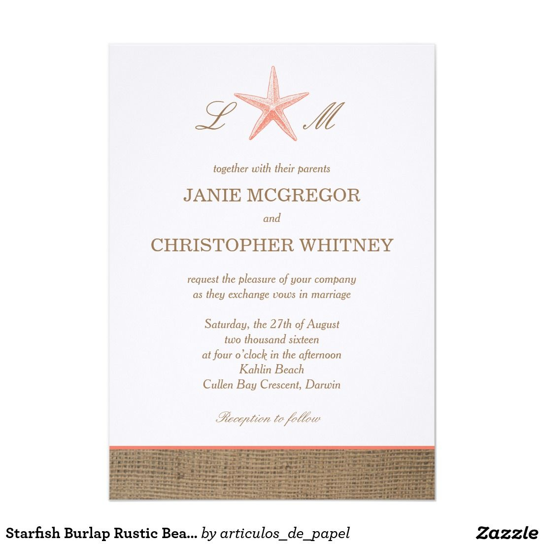 Starfish Burlap Rustic Beach Wedding Invitations | BURLAP WEDDING ...