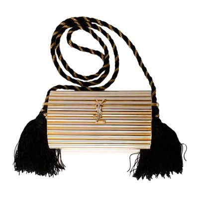 Vintage YSL Yves Saint Laurent Gold Box Clutch Black Tassle Bag Purse  Evening  e69d817a79efc