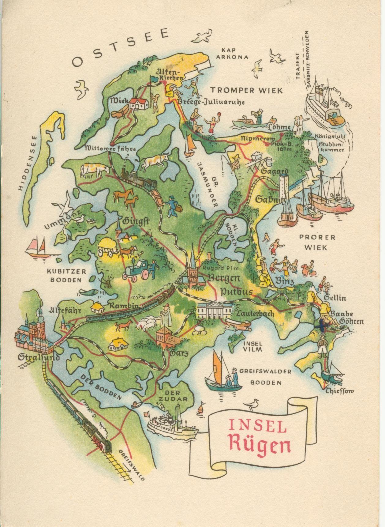 Rugen Landkarte Map Of Rugen Rugen Landkarte Hiddensee