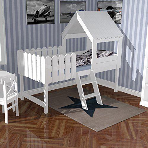 spielbett   abenteuerbett   hochbett baumhaus, massivholz, weiß ... - Kinder Abenteuerbett Hochbett Ideen Kinderzimmer