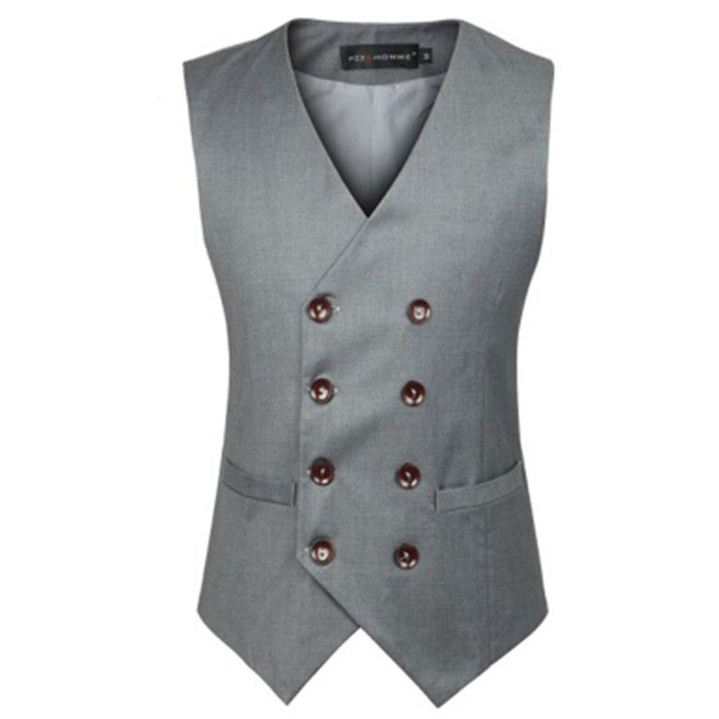 New Fashion Double Breasted Plus Size Slim Fit Chaleco Hombre Sleeveless Cotton Waistcoat Su Chalecos De Moda Hombre Traje Con Chaleco Hombre Traje Con Chaleco