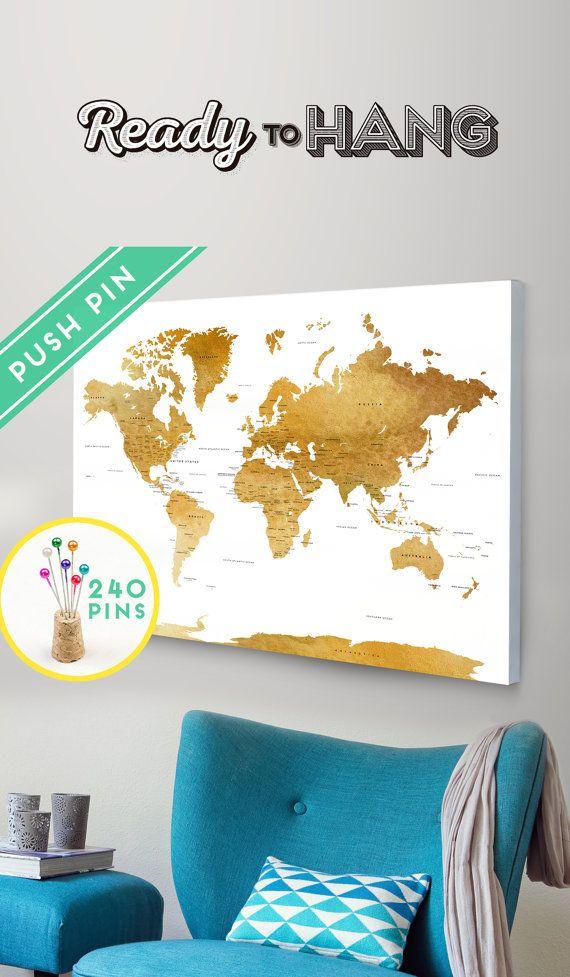 push pins world map canvas watercolor gold countries capitals