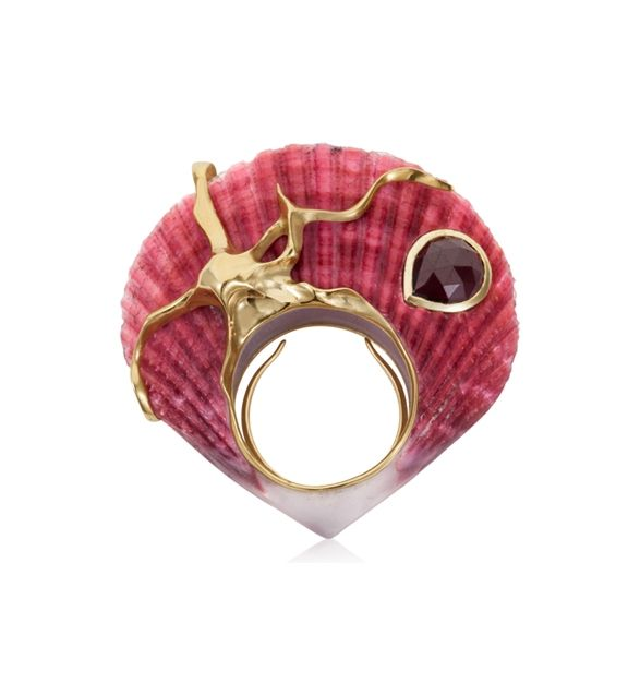 Shagreen et Tortoise Ruby Coral Octopus Ring
