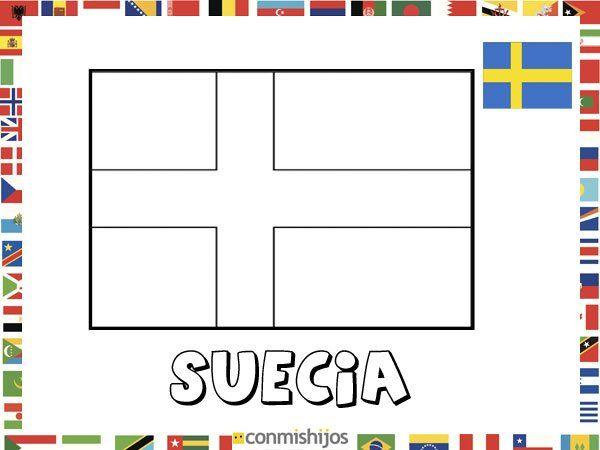 Pintar NiÑos Del Mundo Por Paises Y Banderas: Bandera De Suecia. Dibujos De Banderas Para Pintar