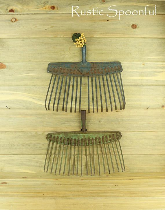 2 Old Broom Rakes Rake Head Rustic Home Decor Rustic Wall | Antiques ...