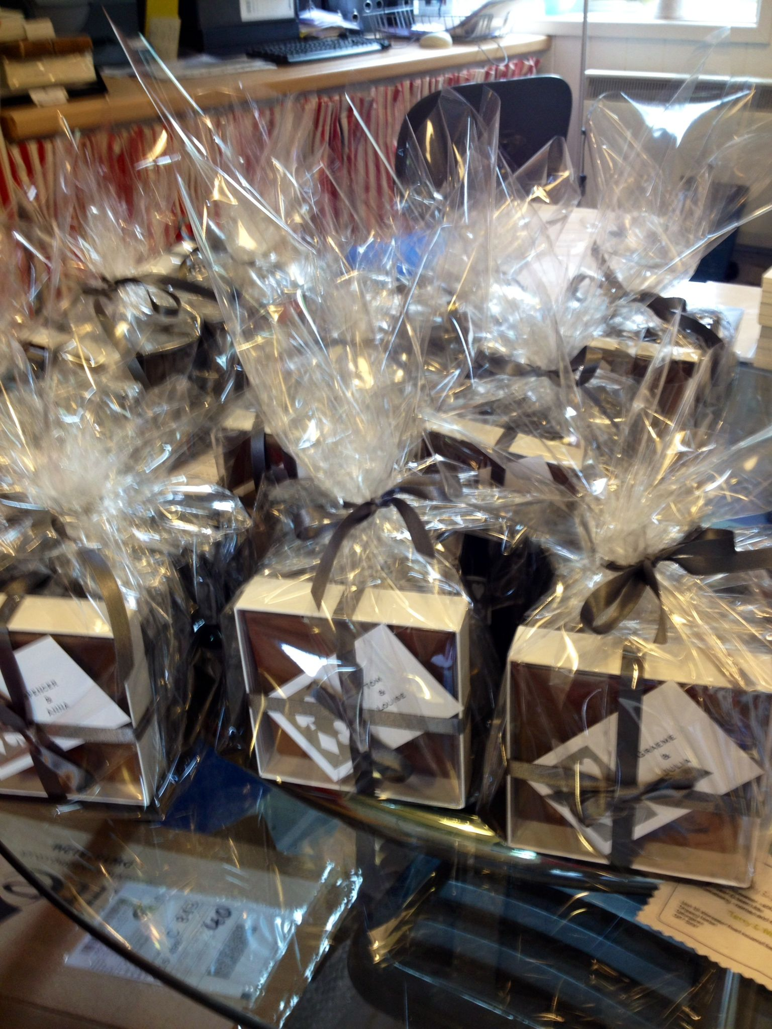We did wonderful goodie bags for a birthday poker night with cards, chocolate and candles.