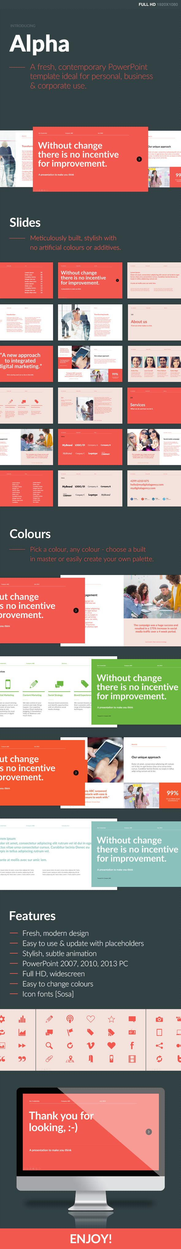 Alpha PowerPoint Template (PowerPoint Templates) #powerpoint