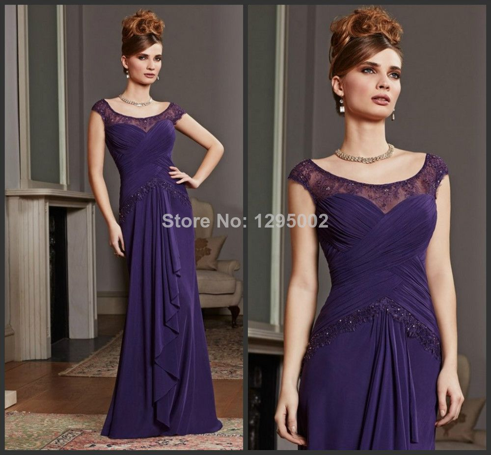 Simple design scoop aline with beaded laceruched custom purple