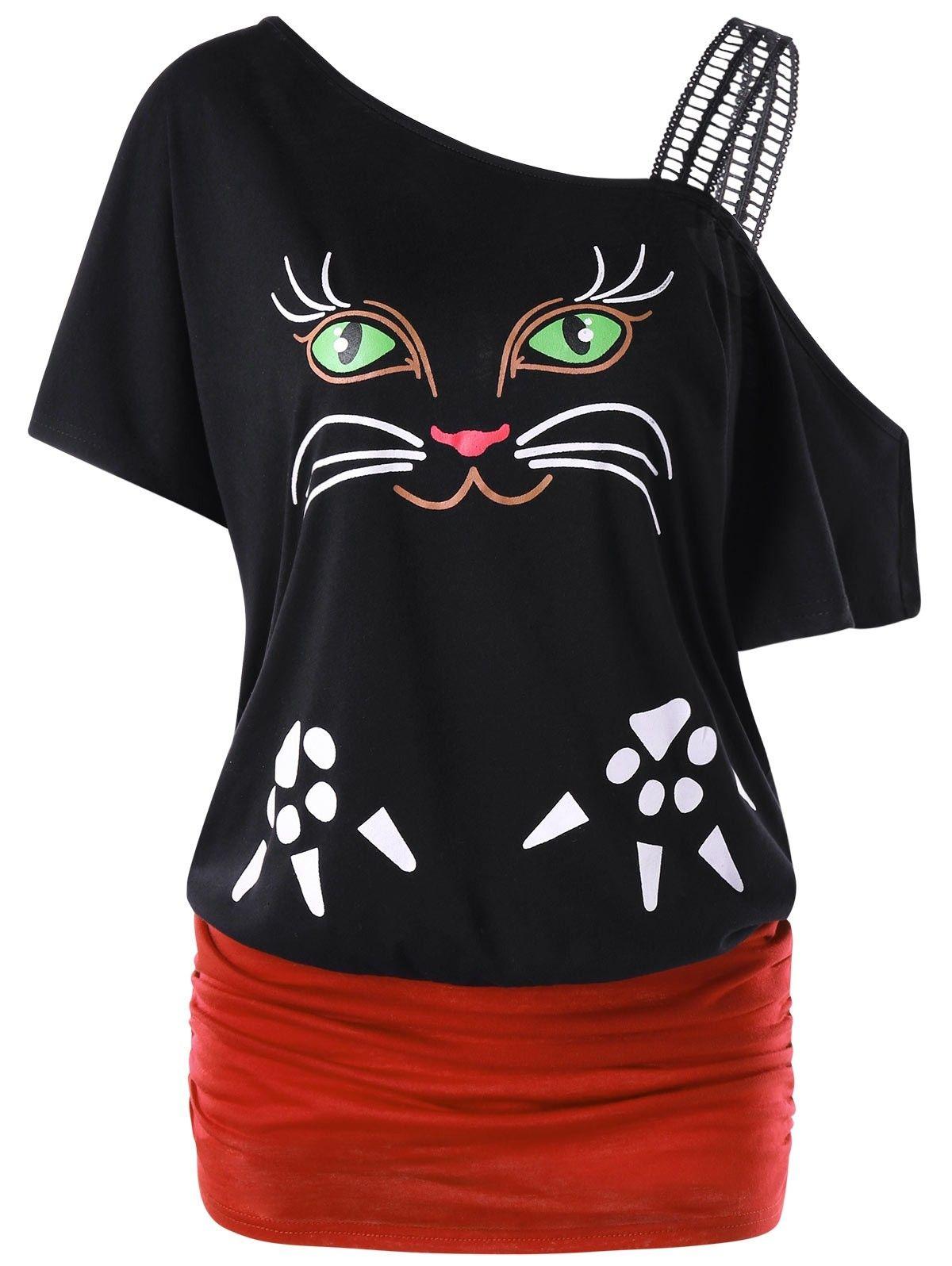 Cat Print Skew Collar Tunic Tshirt Black 3H40156212