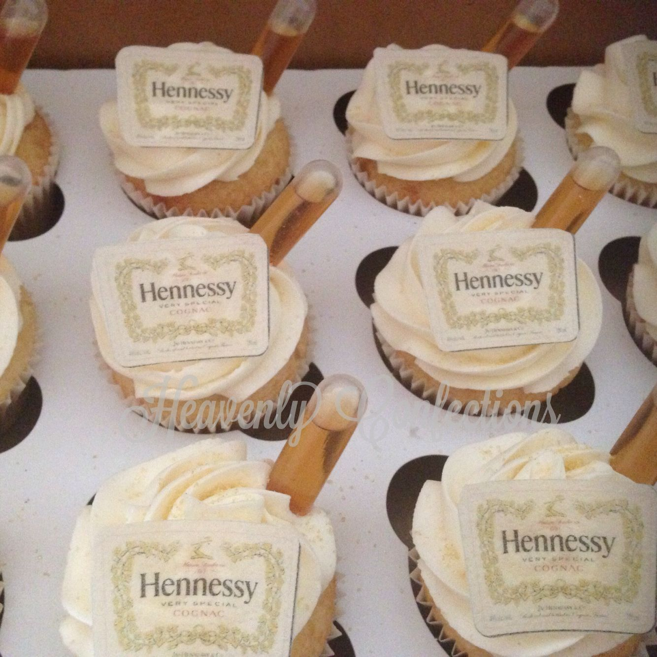 Liquor Bottle Cake Decorations: Hennessy Cupcakes With A Shot.