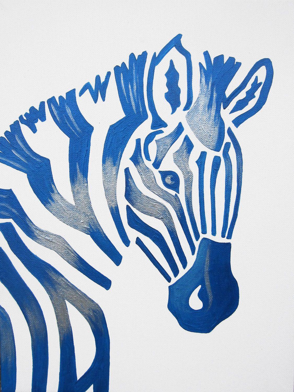 Blue Zebra Safari Nursery Art Zoo Animal. Jungle Theme
