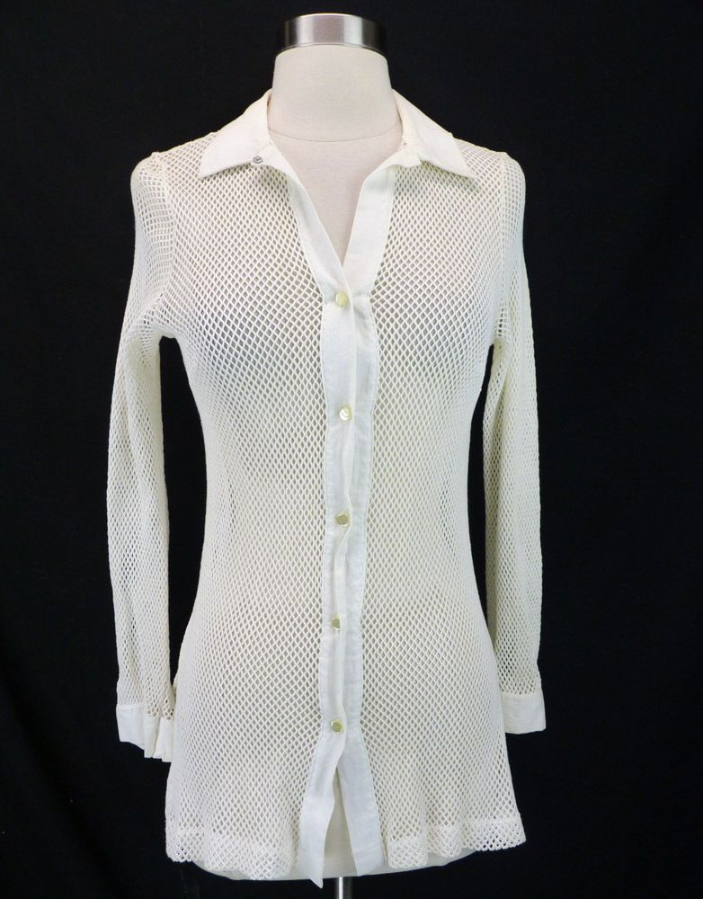 0d7caef24f Vintage 70s White Crochet Mesh Sheer Button-Front Shirt Top Beach Coverup M  #Unbranded