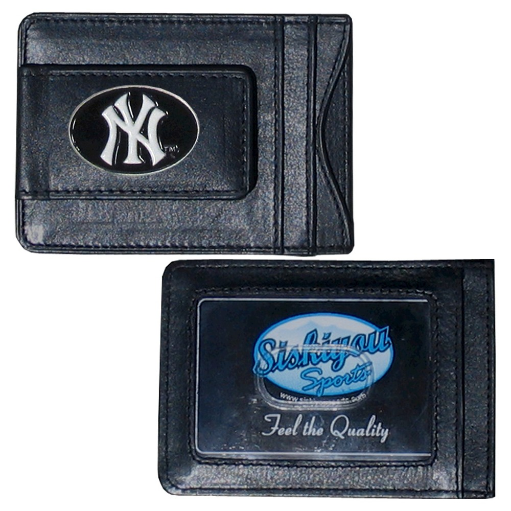 New York Yankees Siskiyou Men S Money Clip Wallet Black Gender