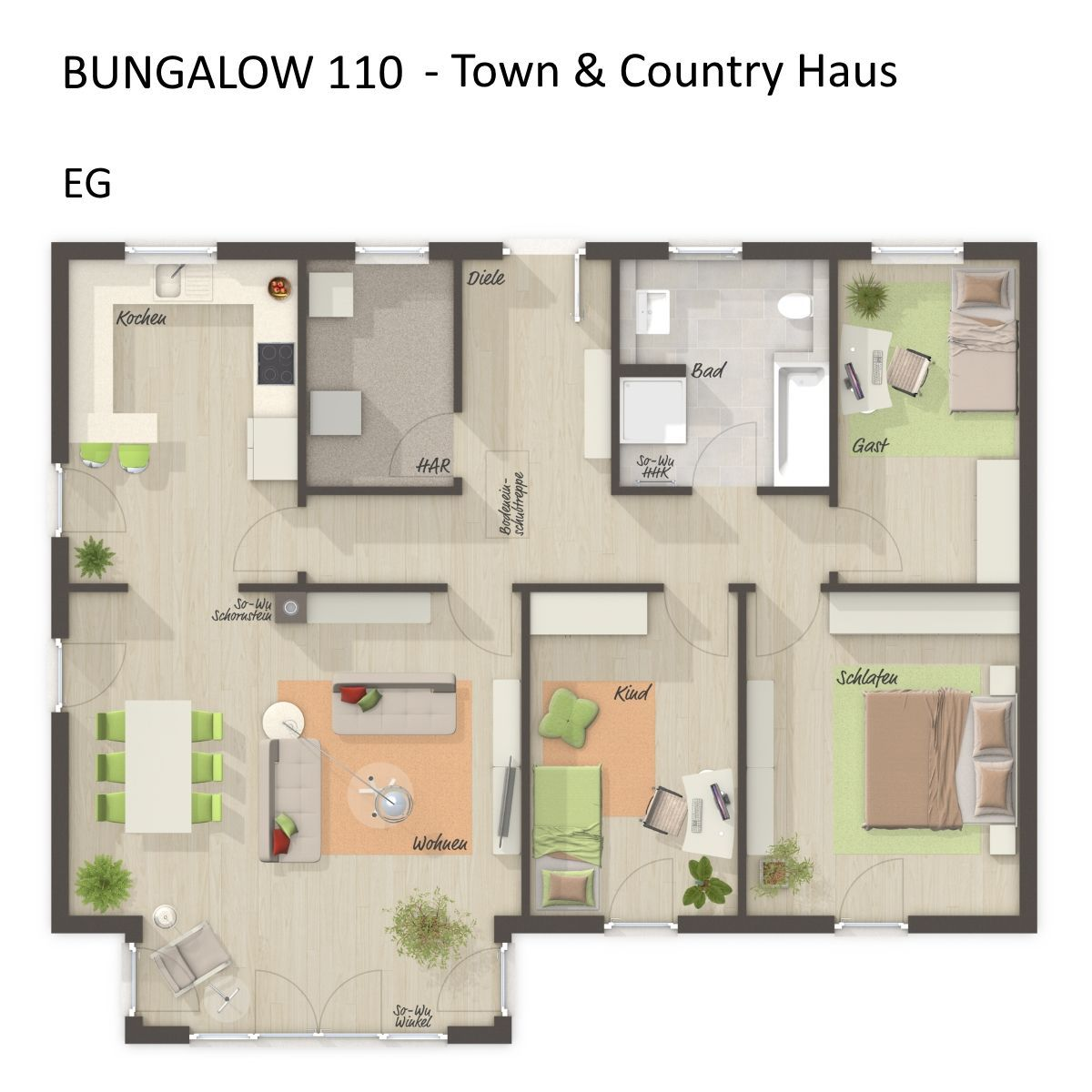 Grundriss Bungalow Haus modern mit Walmdach Architektur