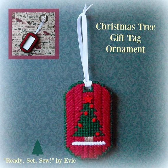 """RESERVED for Sandy!!! Plastic Canvas: 5 """"Christmas Tree"""" Gift Tag Ornaments…"""