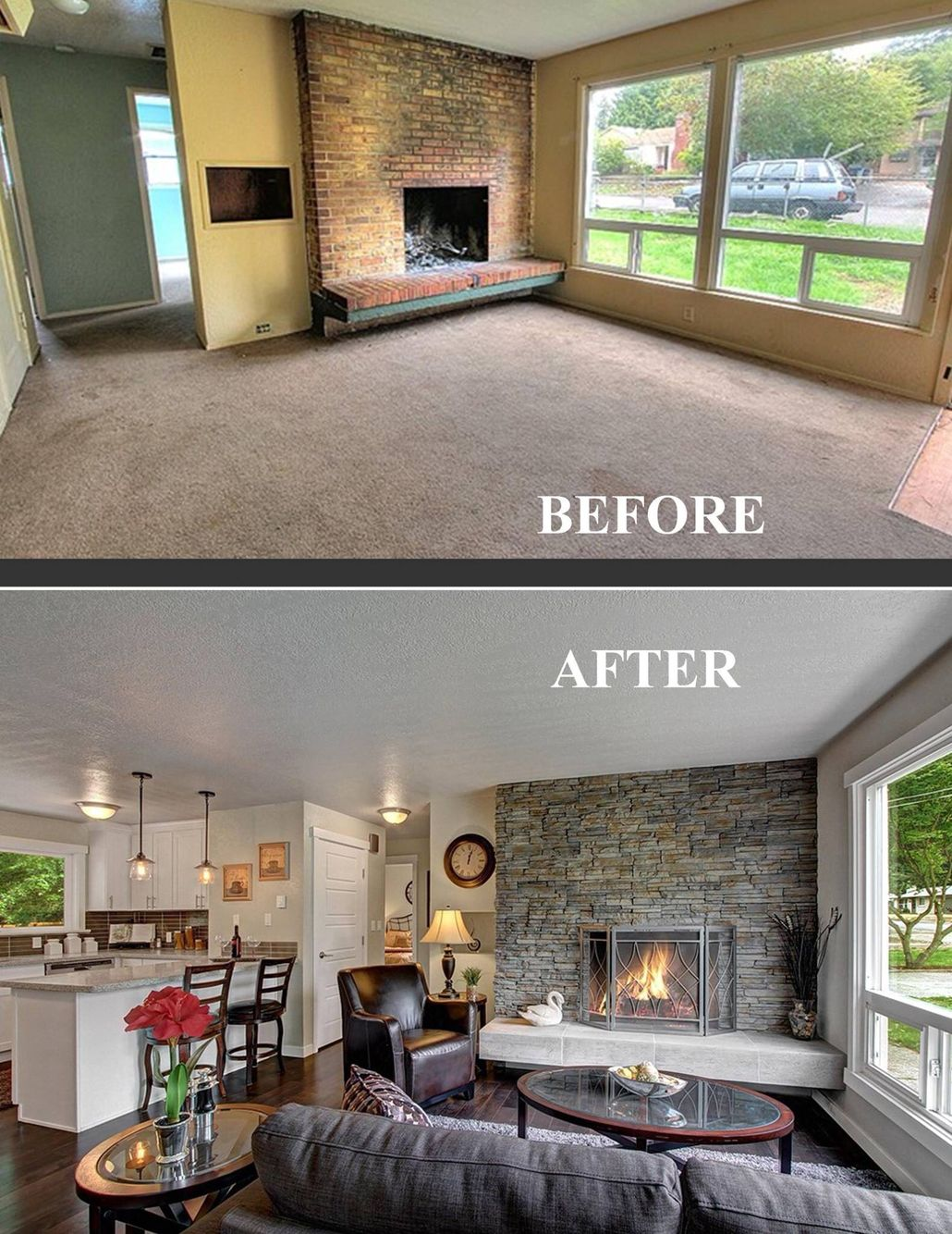 a dingy old family room turns into a cozy oasis hand scraped wood