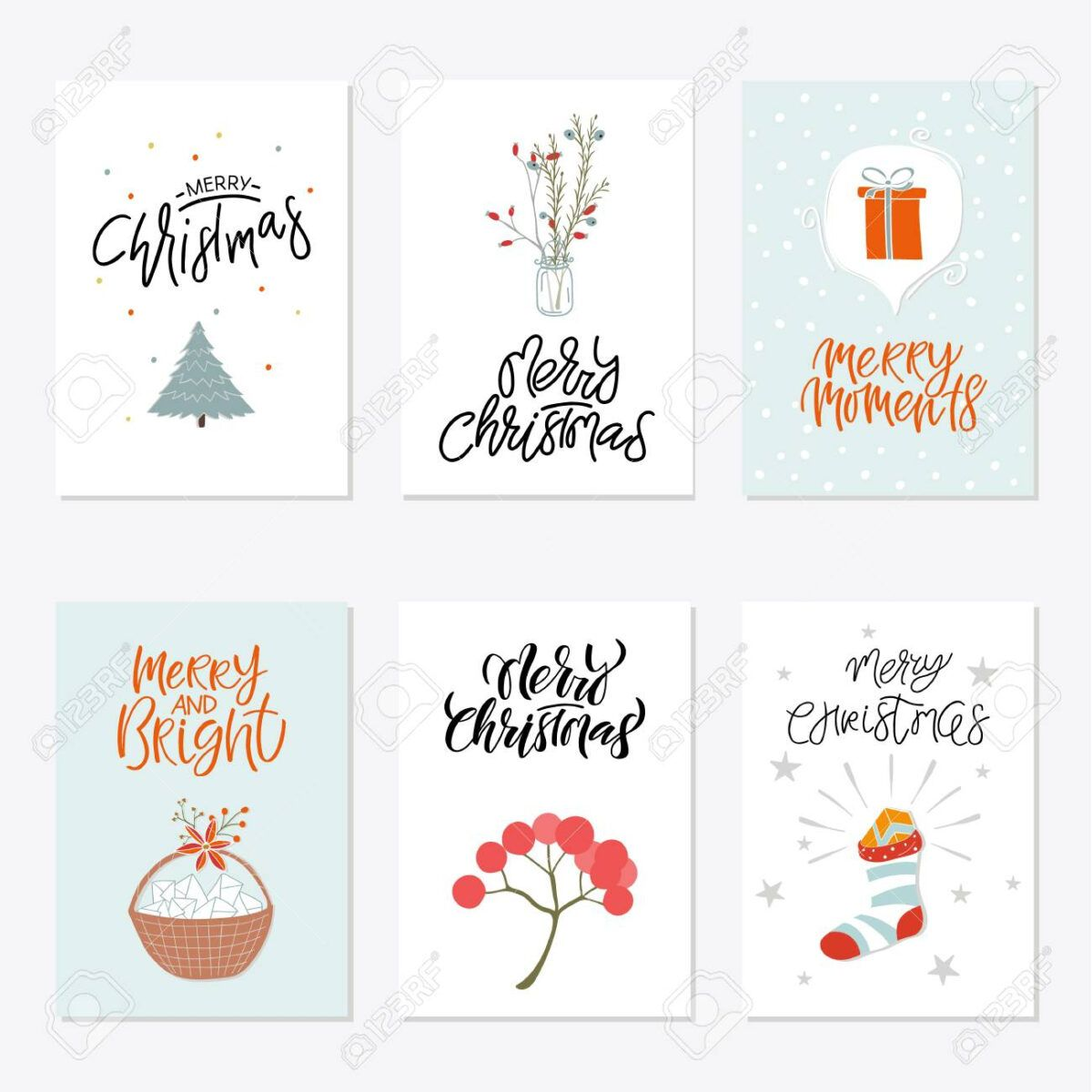 Collection Of 6 Cute Merry Christmas Gift Cards Set Of Six Printable In Printable Holiday Card Template Printable Holiday Card Holiday Recipe Card Template