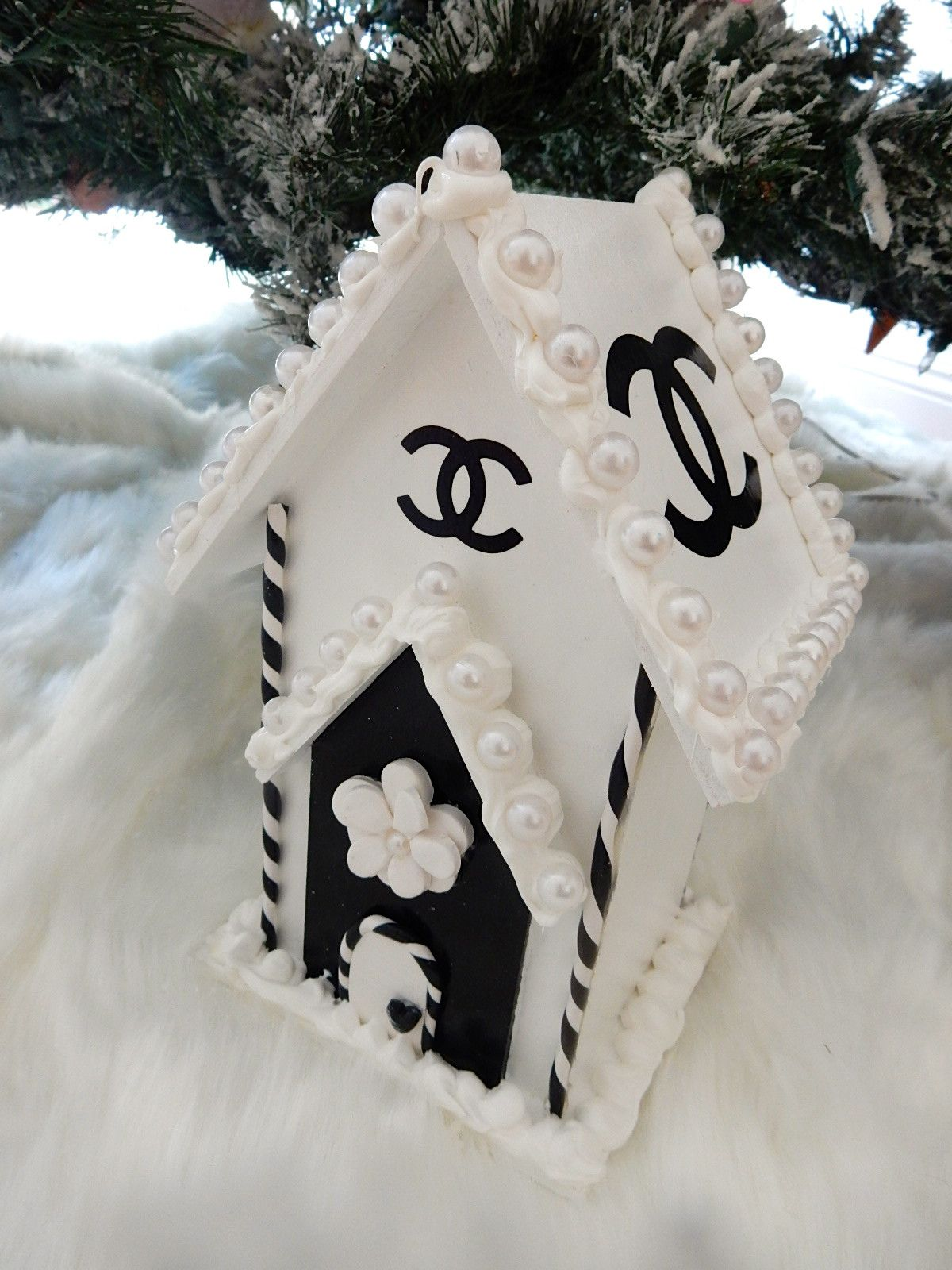 Chanel inspired wood house of chanel christmas display ornament 9