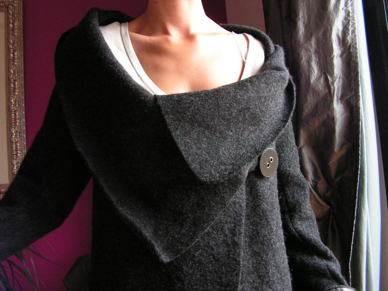 Manteau noir laine bouillie femme