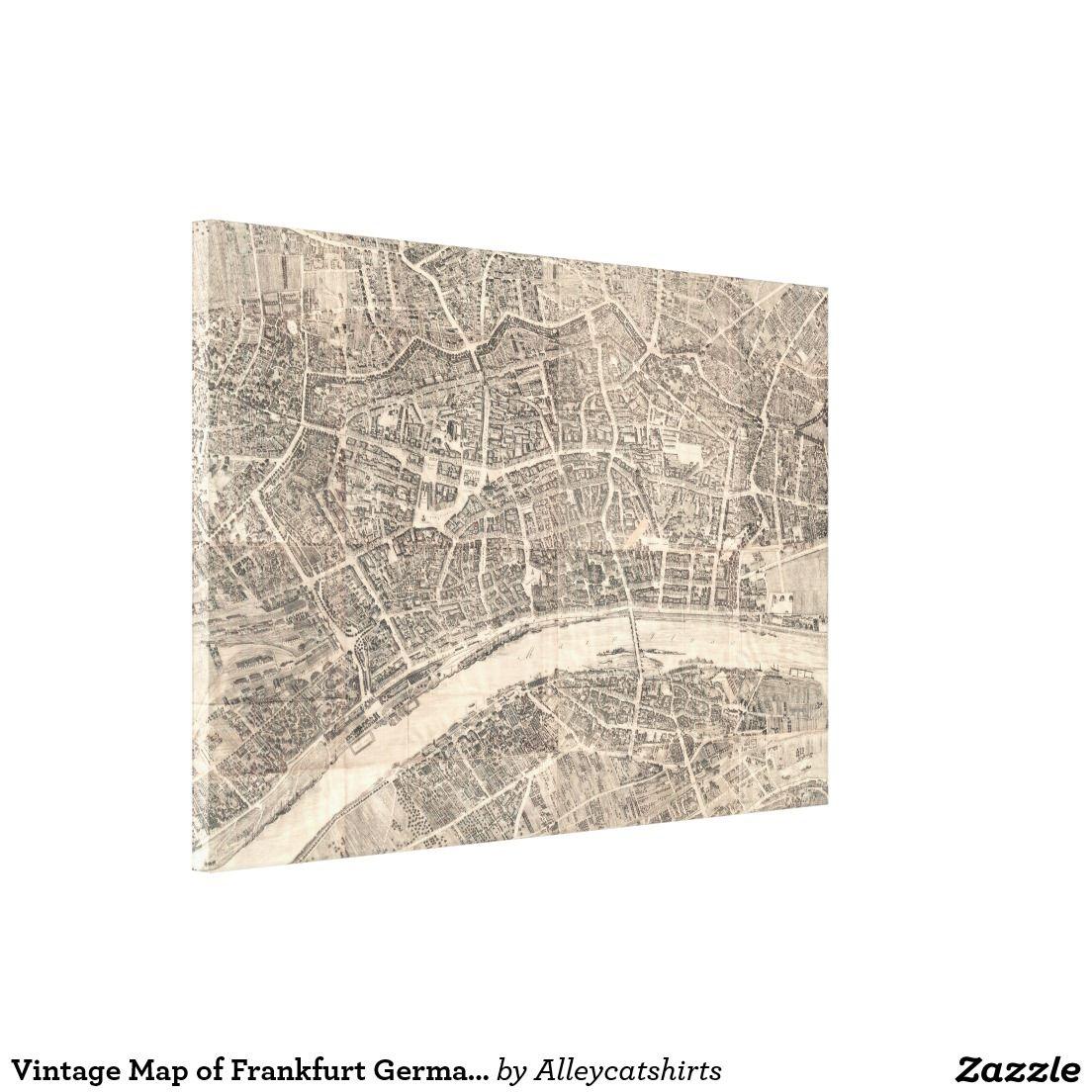 Vintage Map of Frankfurt Germany 1864 Canvas Print