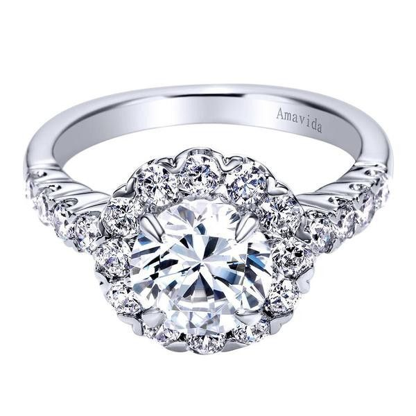 Gabriel & Co 18K White Gold 0.90 ct Diamond Halo Engagement Ring Setting ER6137W83JJ