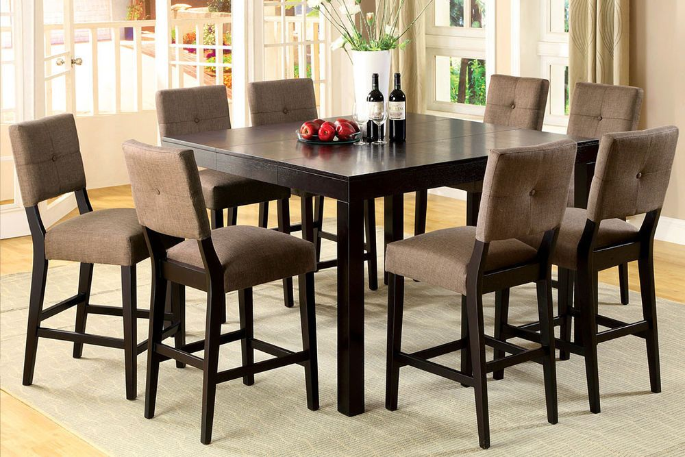 Square Espresso Solid Wood 7 Or 9 Pieces Counter Height Dining Set