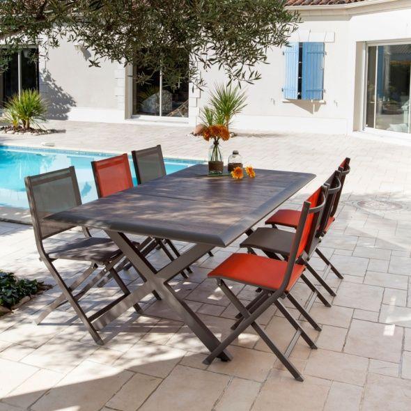 Table de jardin Ceram aluminium/plateau céramique café #ceramiccafe Table de jardin Ceram aluminium/plateau céramique café Carton 203 x 108 x 11 cm - Gamm Vert #ceramiccafe