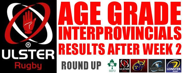 Irish Age Grade Interprovincial Results so Far U20S, U19S, Schools, Clubs U18S!!!!!!!!!!!!!!!!!!!!!!!!!! Ulster, Connacht, Leinster, Munster NOW ON \\WWW.INTOUCHRUGBY.COM//