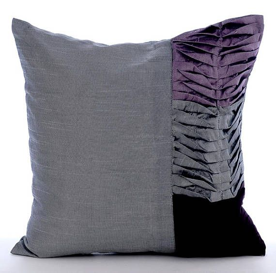 Grey Purple Decorative Throw Pillow Covers Couch Pillow Toss Sofa Enchanting Purple Decorative Pillows For Bed