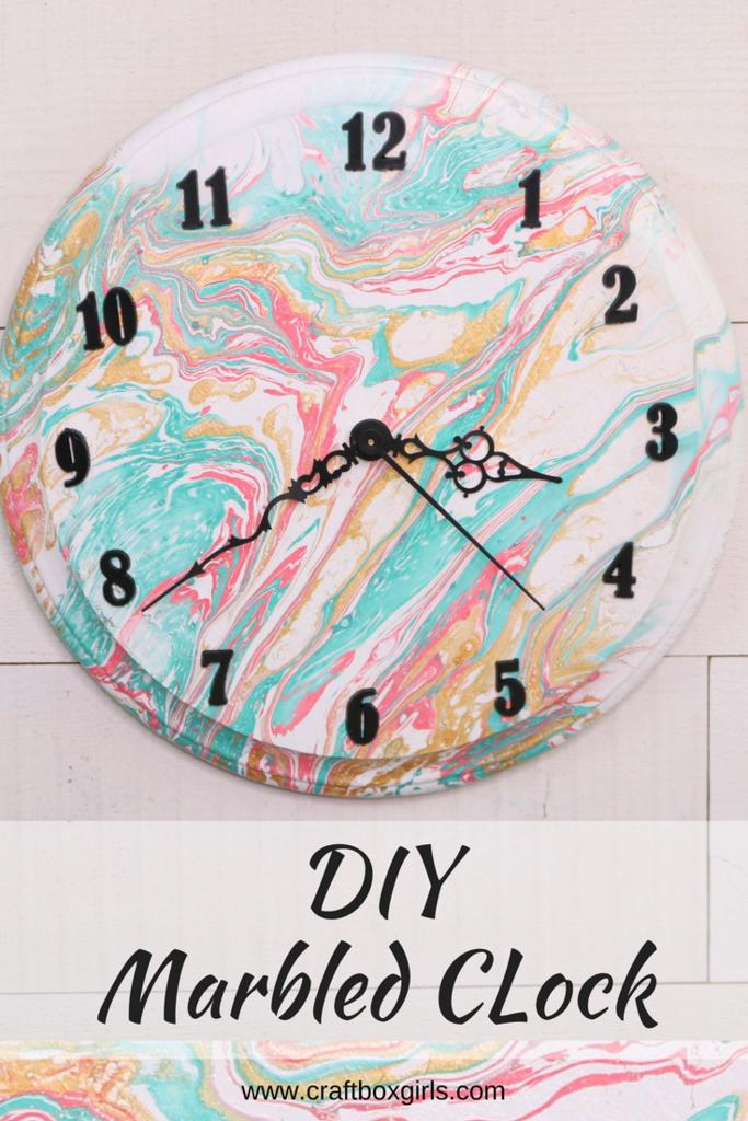 Diy Marbled Wall Clock Clock Craft Wall Clock Craft Diy Clock Wall
