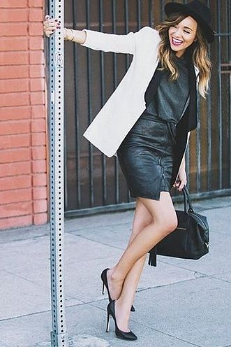 A Contrast Blazer, Casual Tee, Leather Skirt, and Fedora